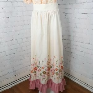 VINTAGE 70s Ivory Pink Embroidered Maxi Skirt S